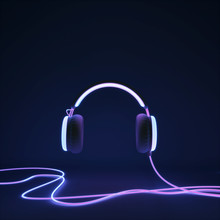 Glowing Headphone Neon On Dark Background. 3d Render