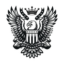 Illustration Symbol Eagle With Shield And Crown