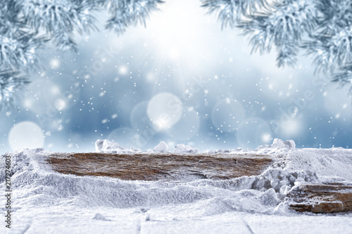Spoed Foto op Canvas Blauwe hemel desk of free space and winter background