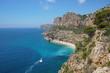Coastal cliff with beach at the bottom, Cala del Moraig, Benitachell, Mediterranean sea, Costa Blanca, Alicante, Valencia, Spain