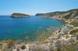 Spain Costa Blanca rocky coast with an island in Javea, Illa del Portitxol, Mediterranean sea, Alicante, Valencia