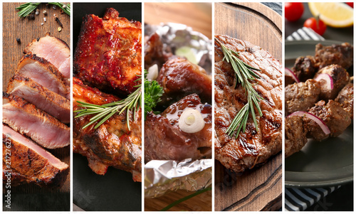 Fotografie, Obraz  Set of tasty meat cooked on barbecue grill