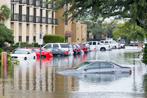 Fototapeta Cars submerged  in Houston, Texas, US during hurricane Harvey