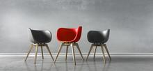 3 Stühle Rot Schwarz - Diskus...