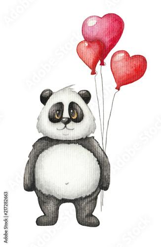 sliczna-akwareli-panda-z-czerwien-balonem-recznie-rysowane-dzieci-ilustracja