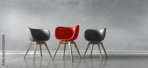 Fotografia 3 Stühle rot schwarz - Diskussion