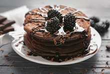Plate With Tasty Chocolate Pan...