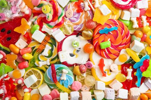 Foto op Plexiglas Snoepjes Delicious lollipops and sweets as background