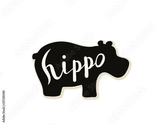 Canvastavla Silhouette of a hippo on a white background
