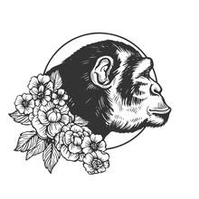 Monkey Head Animal Engraving Vector