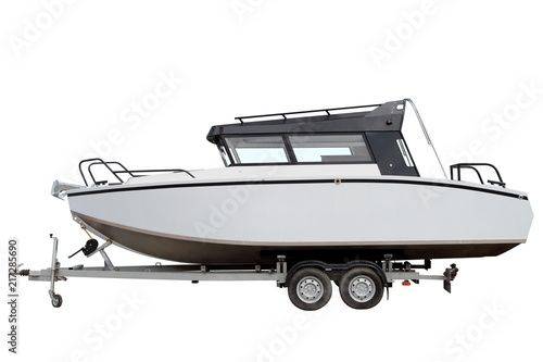 Modern motor boat isolated on white background.