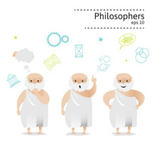 Set Of 3 Philosophers. Vector ...
