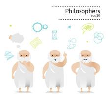 Set Of 3 Philosophers. Vector Illustration