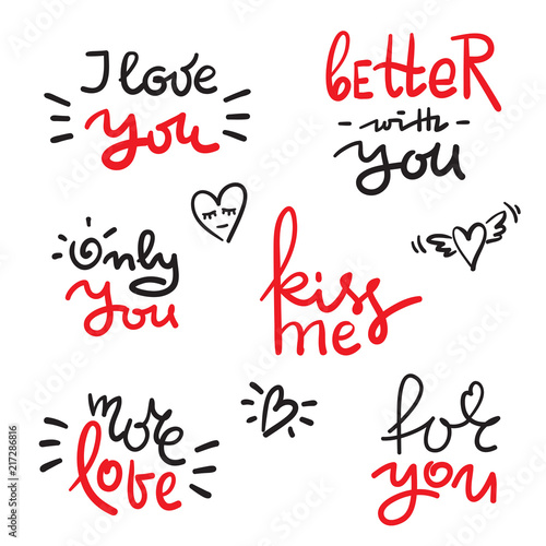 valentines day set with love text heart template for stickers