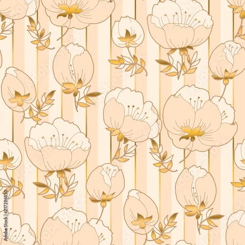 Fototapety beżowe bezowe-kwiaty