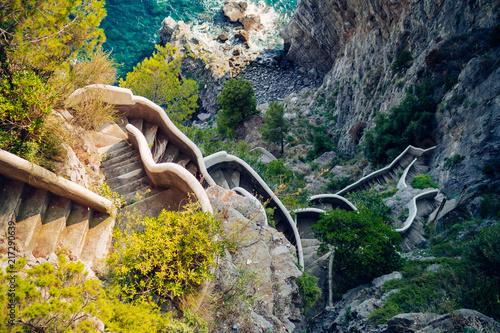 Photo Amalfi Coastline. Stairs in the steep coast. Amalfi, Italy