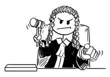 Cartoon Stick Drawing Conceptual Illustration Of Angry Judge Holding Gavel Or Hammer And Pointing His Finger During Pronouncing A Verdict.