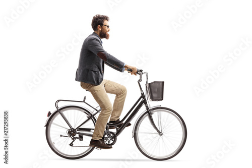 Young man riding a bike