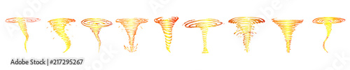 Set of fiery tornadoes sketches . Vector Poster Mural XXL