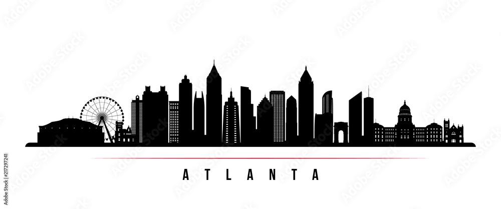 Fototapety, obrazy: Atlanta city skyline horizontal banner. Black and white silhouette of Atlanta city, USA. Vector template for your design.