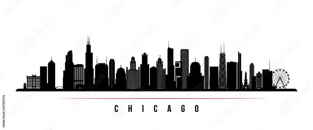 Fototapeta Chicago city skyline horizontal banner. Black and white silhouette of Chicago city, USA. Vector template for your design.
