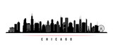 Baner poziomy panoramę miasta Chicago. Czarno-biała sylwetka miasta Chicago, USA. Szablon wektor dla swojego projektu.