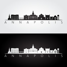 Annapolis, USA Skyline And Landmarks Silhouette, Black And White Design, Vector Illustration.