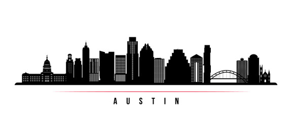 Panel Szklany Austin city skyline horizontal banner. Black and white silhouette of Austin city, USA. Vector template for your design.