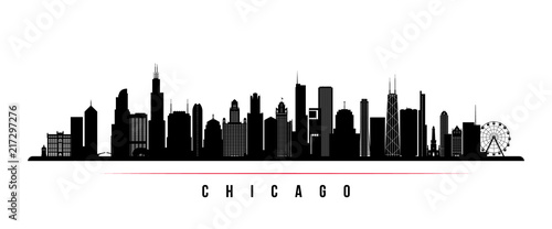 Obraz Chicago city skyline horizontal banner. Black and white silhouette of Chicago city, USA. Vector template for your design. - fototapety do salonu