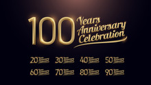 20, 30, 40, 50, 60, 70, 80, 90, 100 Years Anniversary Celebration Gold Number And Golden Graphic Dark Background. Vector Illustration