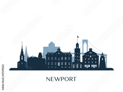 Newport skyline, monochrome silhouette. Vector illustration. Wallpaper Mural