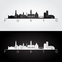 Porto Skyline And Landmarks Silhouette, Black And White Design, Vector Illustration.