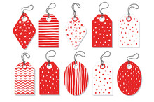 Set Red Vector Tags Isolated On White Background .