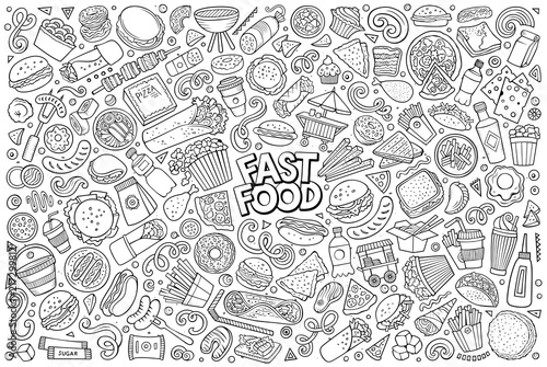 Photographie Vector set of Fast food objects and symbols