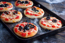 Mini Pizza For Halloween With Spiders, Mummy And Spider Web, Horizontal