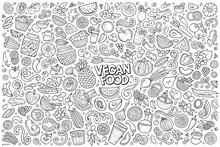 Vector Set Of Vegan Food Objec...