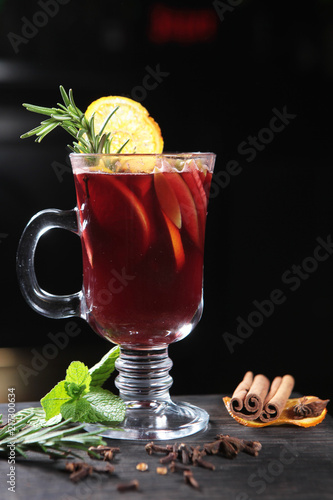 Staande foto Thee Hot tea in winter from fruits and spices. Healthy lifestyle.