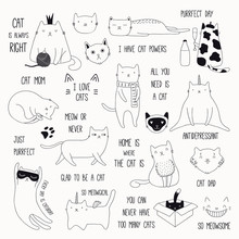 Set Of Cute Funny Black And White Doodles Of Different Cats And Quotes. Isolated Objects. Hand Drawn Vector Illustration. Line Drawing. Design Concept For Poster, T-shirt, Fashion Print.