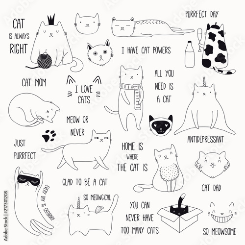 Photo Stands Illustrations Set of cute funny black and white doodles of different cats and quotes. Isolated objects. Hand drawn vector illustration. Line drawing. Design concept for poster, t-shirt, fashion print.
