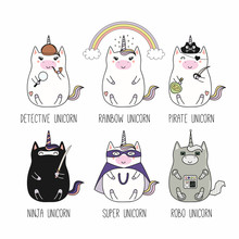 Set Of Kawaii Funny Fat Unicor...