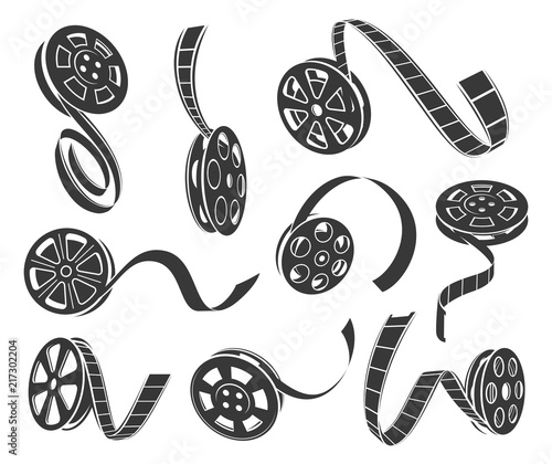 Tablou Canvas Film reel icons vector set isolated from background