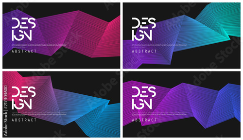 Fotografie, Obraz  Set of abstract gradient geometric designs, colorful minimalist