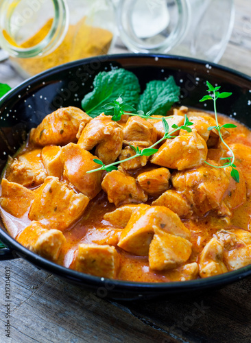 chicken curry on bowl