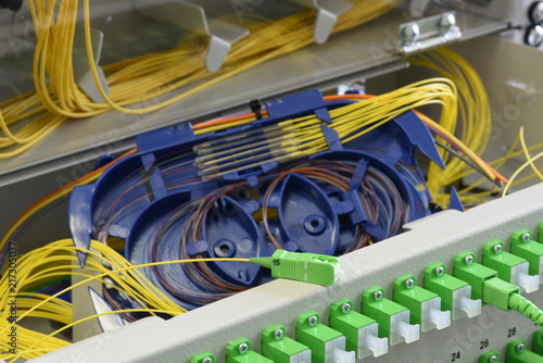 Optic fiber cable and splicing the fibers on spice tray in optical distribution frame