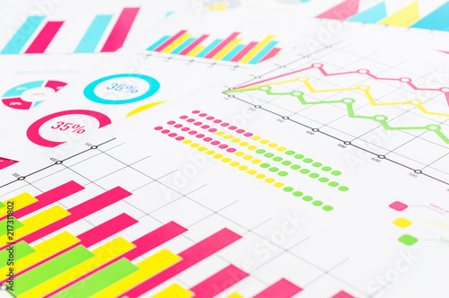 Fotografía  Colorful financial graphs and charts. Business background.