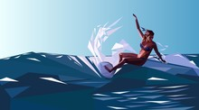 Surfing. The Surfer On The Outside In The Style Of Low Poly. Vector