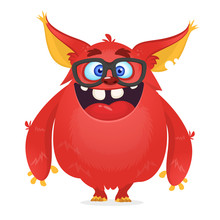 Vector Cartoon Of A Red Fat And Fluffy Halloween Monster With Big Ears Wearing Glasses. Funny Troll Or Gremlin Character