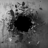 Dark cracked broken hole in concrete wall. Grunge background - 217314846