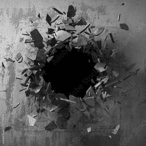 Fotografía  Dark cracked broken hole in concrete wall. Grunge background