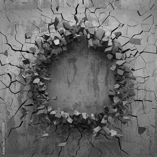 Fotografie, Obraz  Dark cracked broken hole in concrete wall. Grunge background